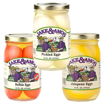 Jake & Amos Pickled Eggs Variety Pack 16 oz. Pickled Eggs, Buffalo Eggs, Jalapeño Eggs (1 Jar of Each)