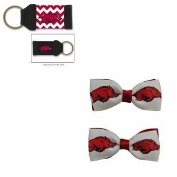 Bundle - 2 Items: University of Arkansas Hair Bow Pair and Chevron Keychain