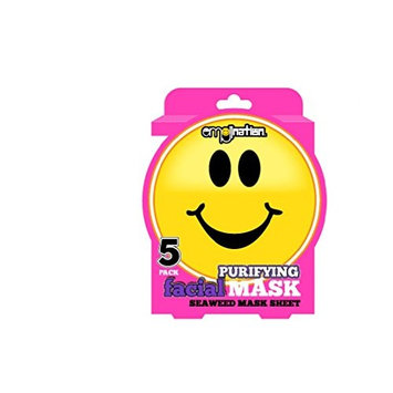 Emoji 5 Pack Purifying Facial Masks - Seaweed Infused Mask Sheets - Smiling Emoji Face [Seaweed]
