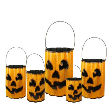 Gerson Set of 5 Distressed Metal Nesting Jack 'O Lantern Containers