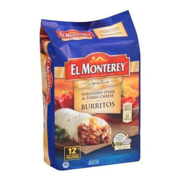 El Monterey Signature Steak and Three Cheese Burrito, 3.75 Pound - 4 per case.