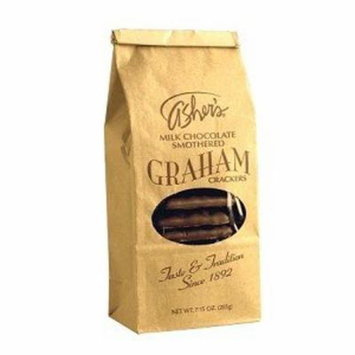 Asher's Milk Chocolate Covered Graham Crackers 7.15 Ounce Bags, (Pack of 12)