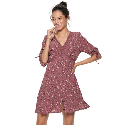 Juniors' American Rag Ruched-Sleeve Button Front Dress