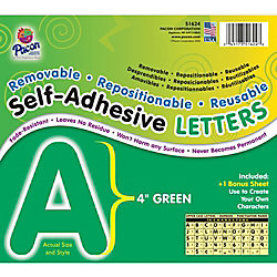 School Specialty Self-Adhesive Letters 4 inch - Green - Pack of 78