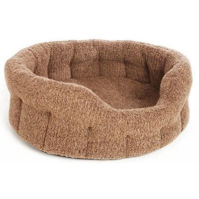 P&L SUPERIOR PET BEDS LTD Premium Oval Fleece Softee Bed Fleck, Medium, 61 x 51 x 22 cm, Brown(size 4)