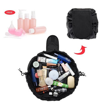 HYCC Lazy Cosmetic Bag Portable Waterproof Large Capacity Makeup Toiletry Drawstrings Bag With Travel Bottles - Black (2 Pack)