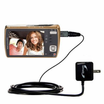 Gomadic Intelligent Compact AC Home Wall Charger suitable for the Kodak EasyShare M530 - High output power with a convenient, foldable plug design - U