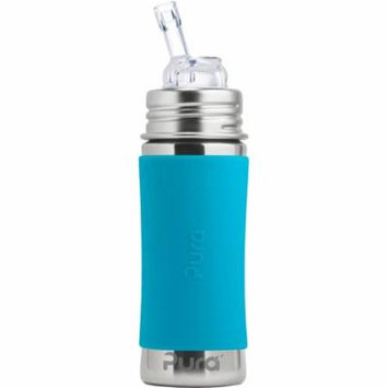 Pura Kiki 11 Oz / 325 Ml Stainless Steel Bottle With Silicone Straw & Sleeve, Aqua Swirl (plastic Free, Nontoxic Certified, Bpa Free)