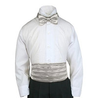 Unotux 23 Color 2pc Boys Satin Cummerbund and Bow Tie Sets from Baby to Teen (2T-4T, Silver)