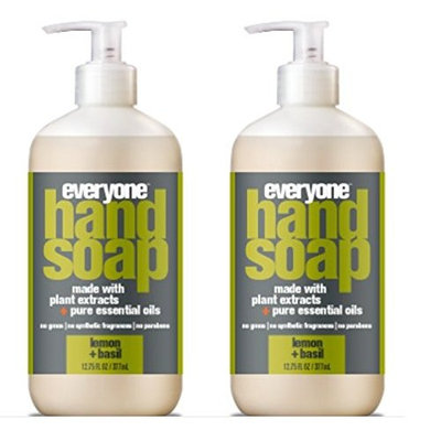 Everyone Lemon and Basil Hand Soap (Pack of 2) with Organic Aloe Barbadensis Leaf, Matricaria Flower Extract and Orange Peel Oil, 12,75 fl. oz.