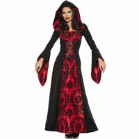 Scarlet Mistress Womens Gothic Witch Hooded Robe Halloween Costume
