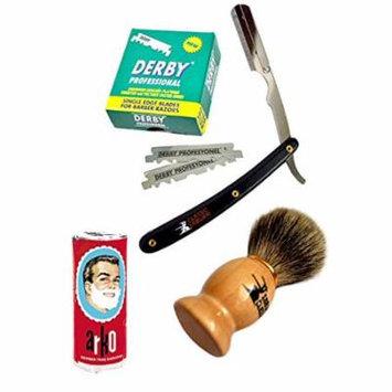 Classic Samurai Men's Premium Shaving Set with CS-101B Barber Straight Razor,Shavette,100 Derby Blades, Brush,Arko Soap