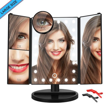 Makeup Mirror Vanity Cosmetic Led Lighted Trifold Larger Portable Compact Travel with 24 Lights Touch Screen 1x/2x/3x/10x Magnification 180 Degree Free Rotation Battery (MAKEUP MIRROR)