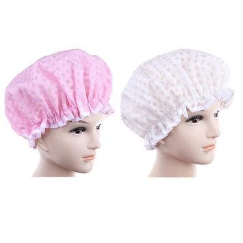 JUNKE 2 PCS Minimalist Waterproof Bath Cap Plaid Dry Double Layer Shower Caps for Women Girls, Elastic Band (Pink + White)
