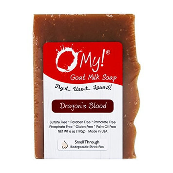 O My! Dragons Blood Goat Milk Soap - 6oz - All Natural, Palm Oil Free, Handmade Soap Made in USA