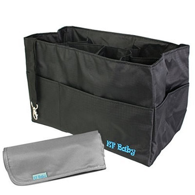 KF Baby Diaper Bag Insert Organizer (12 x 6.4 x 8 inch, Black) + Diaper Changing Pad Value Combo