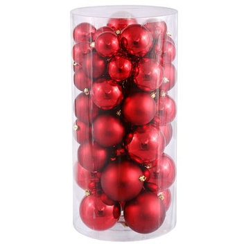 Christmas at Winterland WL-ORNTUBE-70-RE 2.5-Inch Plastic Shatterproof Red Ball
