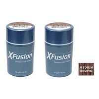 Xfusion Keratin Hair Fibers,Two Pack Value 2 x 12 gr/0.42 oz MEDIUM BROWN