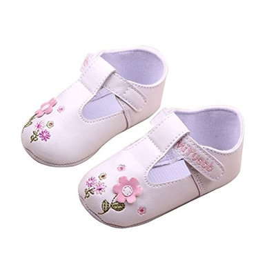 Flower Decor Baby Shoes - SODIAL(R)1 Pair of Cute Baby Girls Flower Decor PU Prewalkers Shoes with Sticky Straps (White)