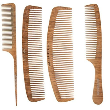 MagiDeal 4PCS/Set Professional Antistatic Wood Salon Barber Hairstyling Hairdressing Cutting Hair Comb Set