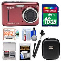 Kodak Ltd Kodak PixPro Friendly Zoom FZ43 Digital Camera (Red) with 16GB Card + Case + Selfie Stick + Kit