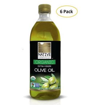 Native Harvest Organic Non-GMO Extra Virgin Olive Oil, 1 Litre (33.8 FL OZ) 6 Packs