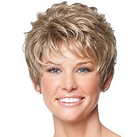 QianBaiHui Wigs for Women Short Curly - Blonde Brown Wigs with Bangs Heat Resistant Synthetic Hair Wig + Wig Cap