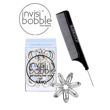 Invisibobble NANO CLEAR The Styling Hair Ring (3 rings), (with Sleek Steel Pin Tail Comb) (NANO, CLEAR)