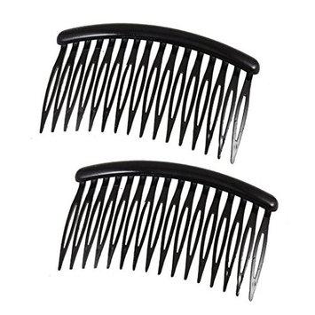 Demarkt 2 X Hair Clip Women 16 Teeth Black Plastic Comb Hair Pin 3.1