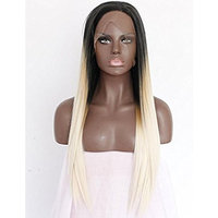 Women's Ombre Blonde Lace Front Wig Long Straight Synthetic Wigs 3 Tones Dark Roots Glueless Wig For Women Heat Resistant Fiber Hair Half Hand Tied 24 inches