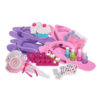 Hearthsong Pedi Party Kids' Pedicure Kit with Slippers