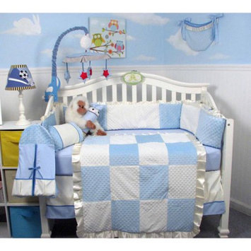 Soho Dot Chenille Baby 14 Piece Crib Nursery Bedding Set Color: Blue Minky