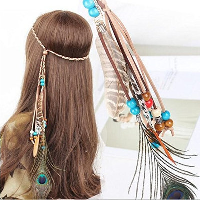 A&c Indiana Princess Peacock Feather Head Chain for Girl, Fashion Headband for Women. (Blue)