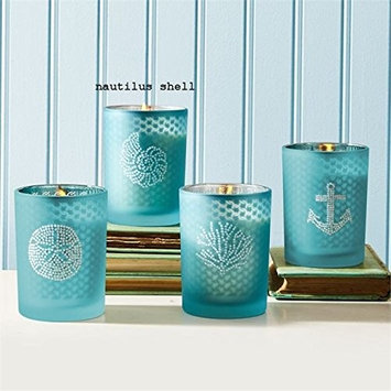 Seaside Filled Soy Candle with Rhinestones and Fresh Sea Breeze Scent - Nautilus