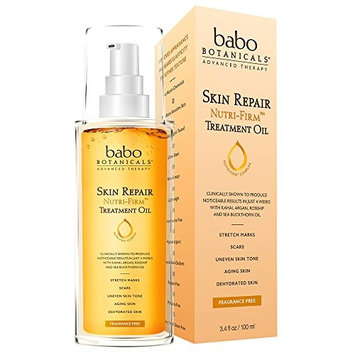 Babo Botanicals New Skin Repair Nutri-firm Stretch Mark Oil Advanced Therapy for Sensitive Skin, Unscented, 3.4 Fluid Ounce