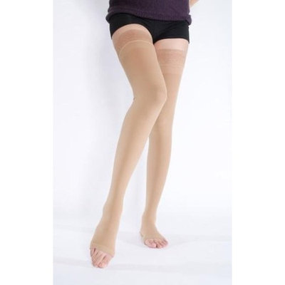 BriteLeafs Opaque Compression Stockings Thigh High Firm Support 20-30 mmHg, Open Toe - Gradient Compression - Small, Beige