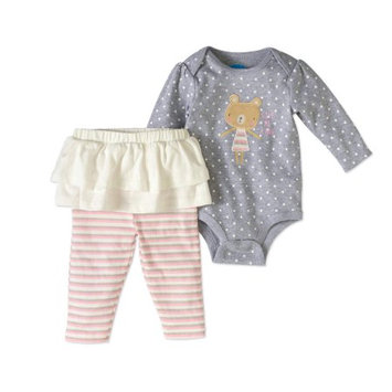 Bon Bebe Baby Girls' 2-Piece Outfit - gray, 3 - 6 months