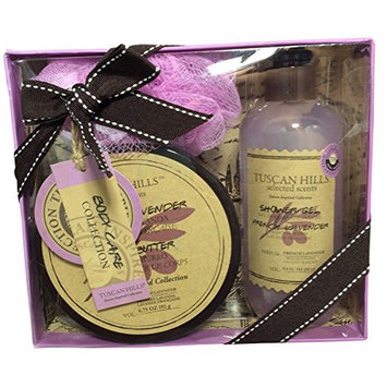 Tuscan Hills Body Care Collection 3 - Piece Gift Set ~ Shower Gel, Body Butter and Loofah (French Lavender)