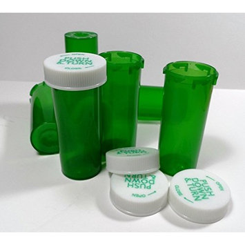 Plastic Prescription GREEN Vials/Bottles 25 Pack w/Caps SMALLEST 6 Dram Size-