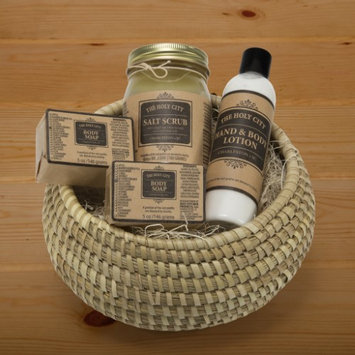 Holy City Skin Products Body Soap, Hand & Body Lotion and Dead Sea Salt Scrub 4 Piece Gift Set With Basket 10'x 6' Bamboo Green Tea