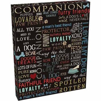 Dog Words Paw Print Bone Fire Hydrant Inspirational Pet Collage Typography Large Blue & Brown Canvas Art by Pied Piper Creative