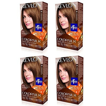 Revlon ColorSilk Hair Color 54 Light Golden Brown 1 Each (Pack of 4) + FREE Assorted Purse Kit/Cosmetic Bag Bonus Gift