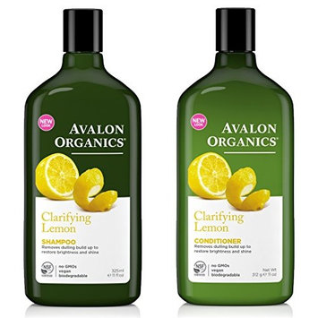 Avalon Organics All Natural Lemon Clarifying Shampoo and Conditioner With Aloe, Lavender, Chamomile, Grapefruit and Babassu Oil, Sulfate Free, Paraben Free, Cruelty Free and Vegan, 11 fl. oz. each