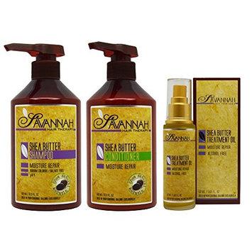 Savannah Shea Butter Shampoo & Conditioner 16.9oz & Treatment Oil 1.69oz
