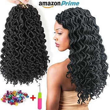 (6Packs) 16inch 24Roots/Pack Curly Faux Locs Soft Hair Deep Faux Locs Twist Braids Goddess Locs Crochet Hair Braiding Hair Braids Mambo Hair Extension (#1B) : Beauty