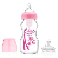 Dr. Brown's Wide-Neck Options 2-in-1 Transition Kit Baby Bottle, - 9oz,Pink