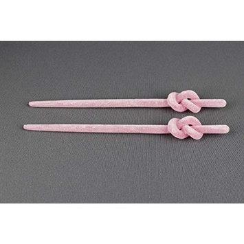 Pink velvet hair chop sticks top knot picks pins accessory 6.75 long