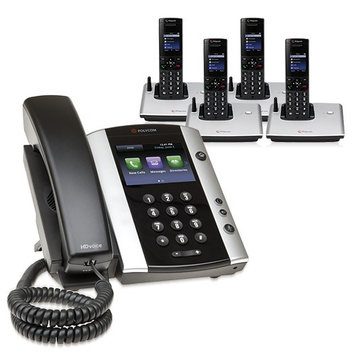 Polycom 2200-44500-001 w/ Four Handsets VVX 500 Business Media Phone