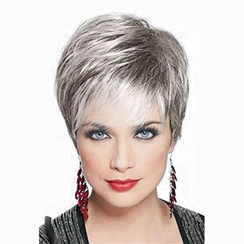 Mufly Synthetic Hair Wigs - Short Fluffy Grey Color Dark Root Heat Resistant Fiber Hair Replacement Wigs 8 Inches