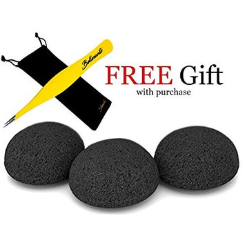 3x Premium Konjac Sponges Including FREE Precision Tweezers and Pouch - 100% All Natural Activated Bamboo Charcoal Infused - Best Exfoliation Facial Scrub for Dry, Oily, Sensitive Skin - By Bellesante